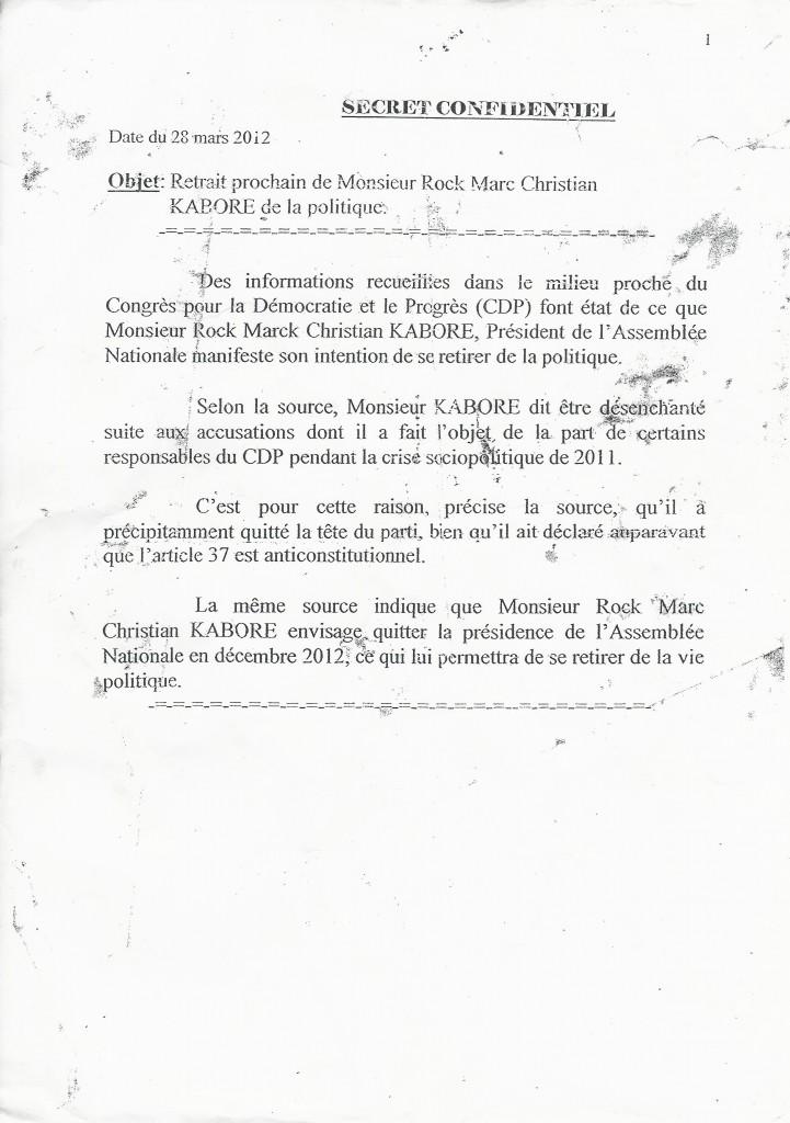 Rapport sur le depart du CDP de Roch Marc Christian Kaboré