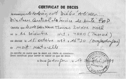 Le certificat de décès de Thomas Sankara