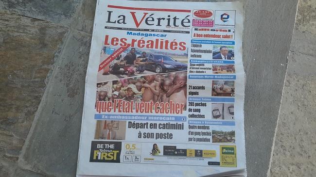La une d'un journal malgache